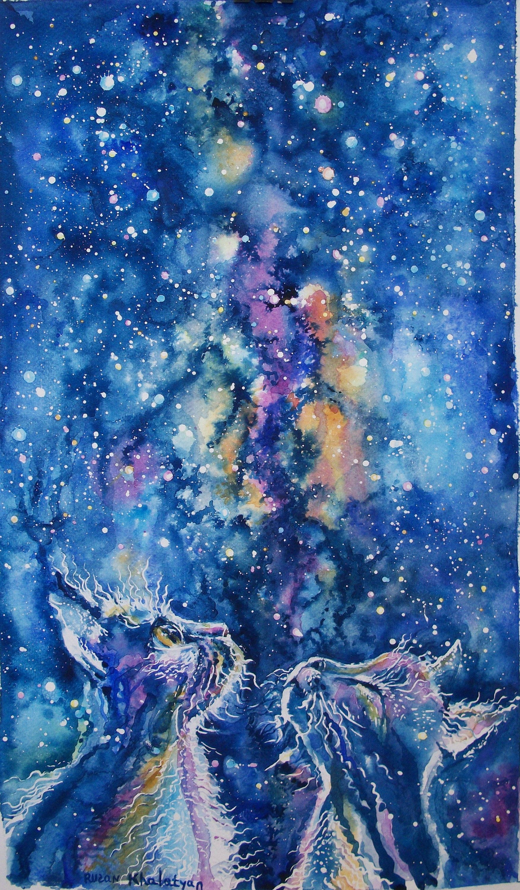 Pittura Pareti Via Lattea Our Roof Milky Way Night Cats Abstract Painting Night Sky