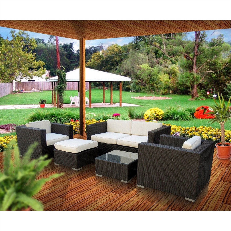 5 Piece Modern Outdoor Wicker Resin Patio Furniture Set in