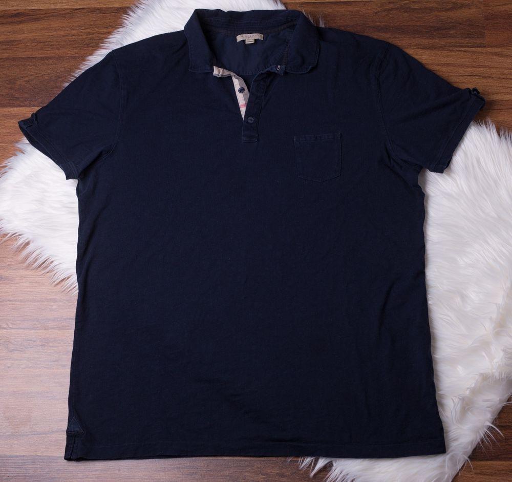 18e390c2dd9f6 Authentic Burberry Brit Polo Style Short Sleeve T-shirt Dark Blue Mens Size  XXL | eBay