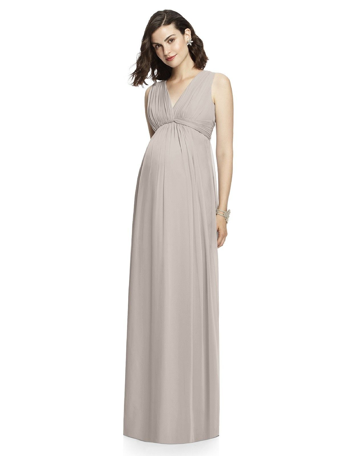 Wishesbridal Grey V Neck Floor Length Chiffon A Line #Maternity #BridesmaidDress B1de0075