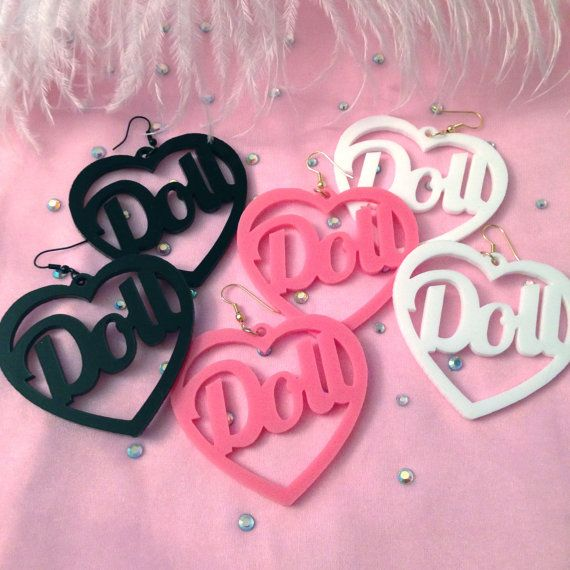 Black, White or Candy Pink Acrylic Doll Earrings is part of Pink acrylics, Pink candy, Pink, Handmade clothes, Dolls, Unique items products - 8  opaque acrylic  The pendants are about 2 5  by 2 5   The earrings are sturdy but you should still be a little bit careful with them    just don't throw them into the bottom of your purse! Are your earring holes stretched  These earrings can be made with wraparound earring hooks so that they won't accidentally fall out  Just mention that you would like wraparound hooks in the  Notes to Seller  section! (please note that wrap around hooks will be gold and not black for the black pair) Please choose between candy pink, black or white at checkout