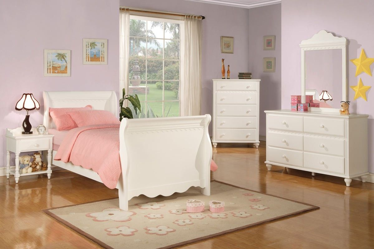 White sleigh bed dresser kids room antique white - White bedroom furniture for girl ...