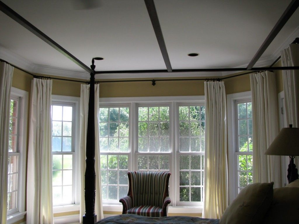 Awesome Idea Curved Curtain Rods For Bay Window : Elegant Interior Design  With Traditional Bedroom With