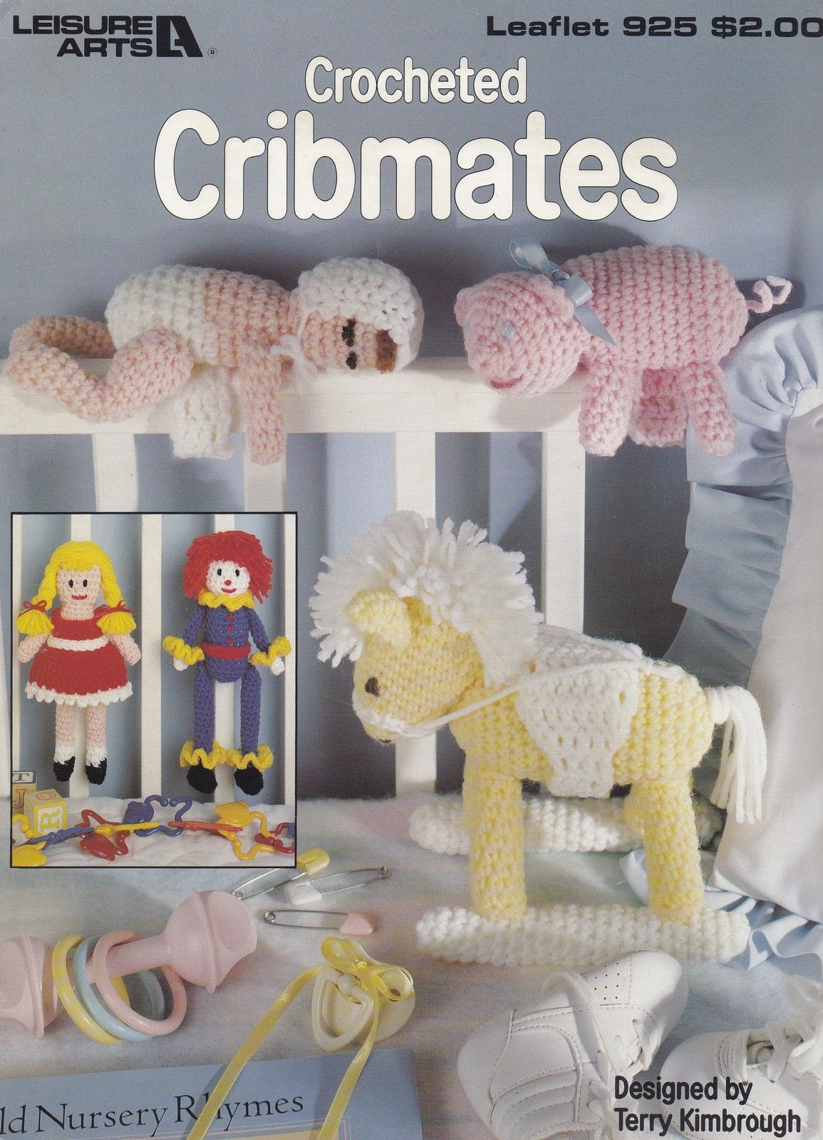 Cribmates, Leisure Arts Crochet Pattern Booklet 925 Dolls Rocking Horse & More! - Dolls & Toys