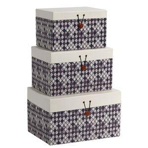Boîte de rangement motif Diamant 2 couleurs (set de 3) Nordal