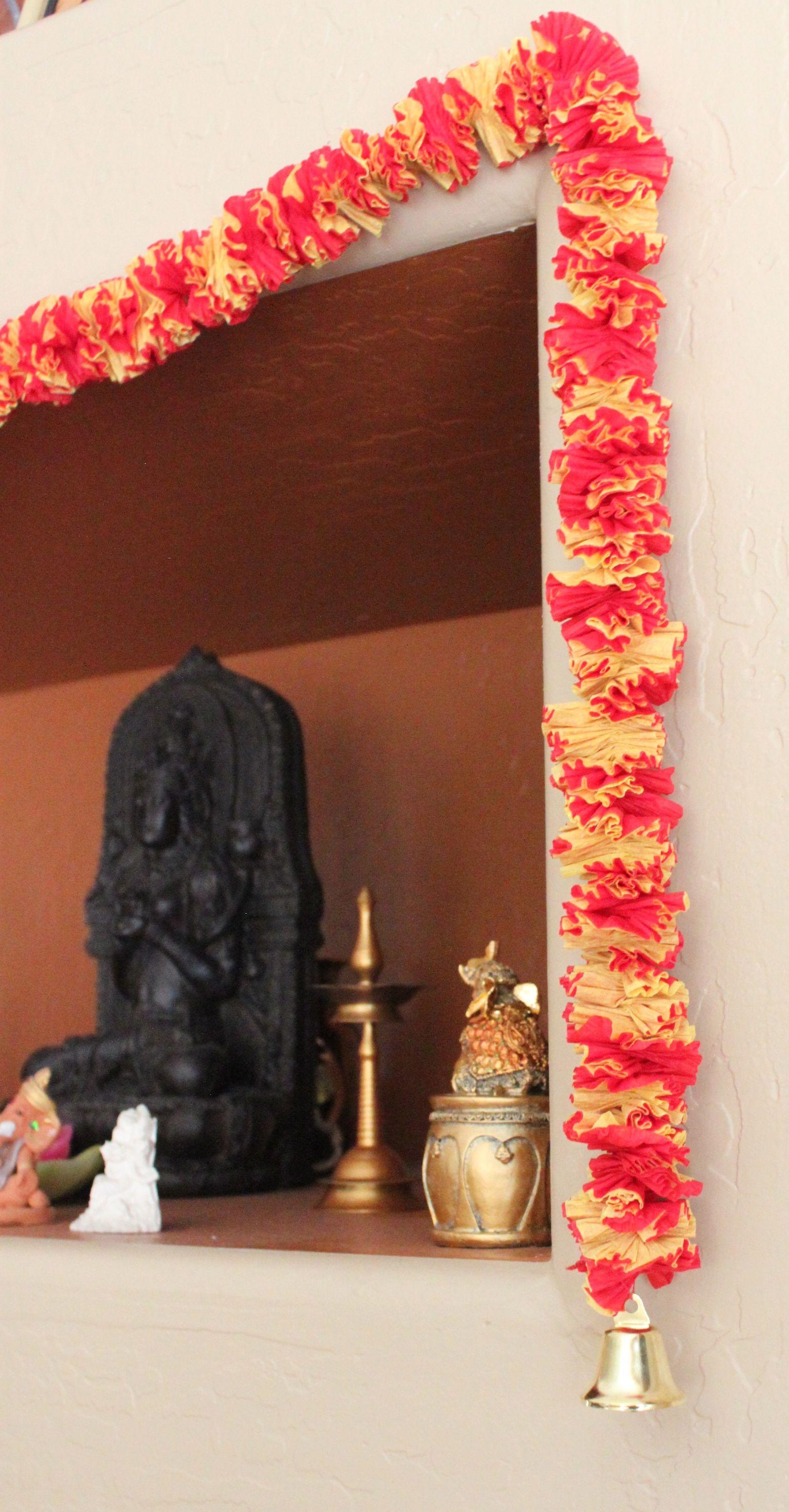 Diy Crepe Paper Garland Toran Pooja Room Decorations Crepe