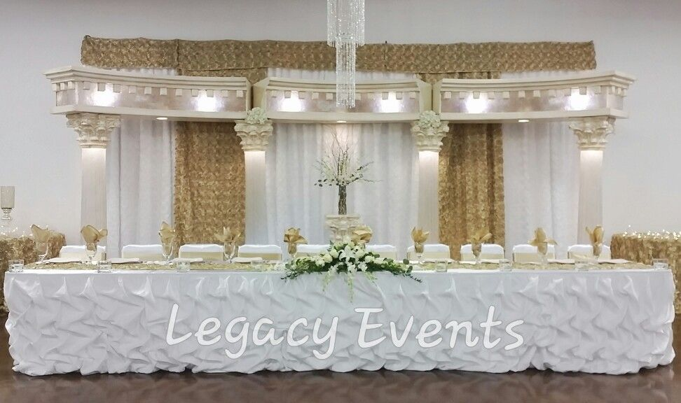 Gold and White Head table WeddingQuinceaera Decorations