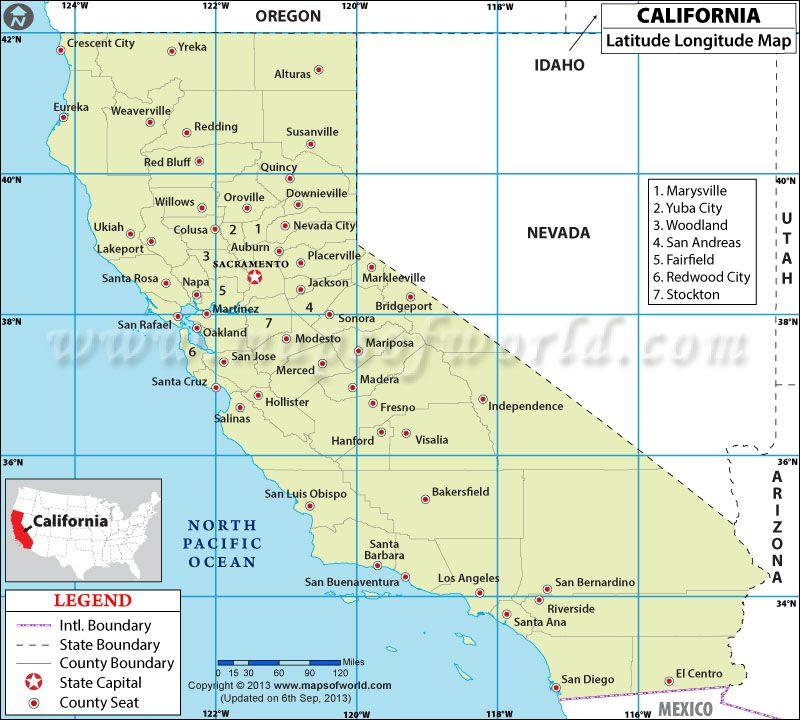 California Latitude and Longitude Map | birthday dresses