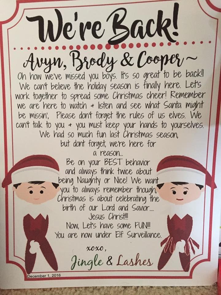 We're Back Elf on the Shelf Arrival Letter. December 1