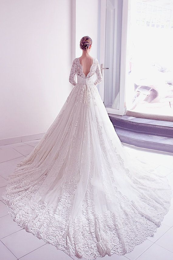 Perfect white princess wedding dress by DestinyChic on Etsy