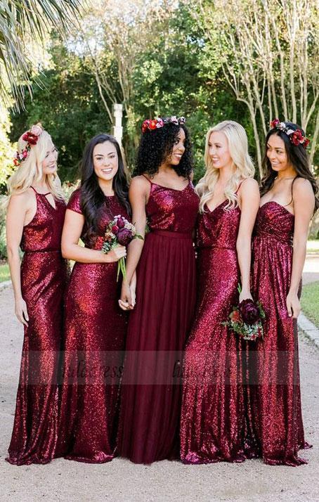 Mismatched Burgundy Bridesmaid Dresses Sequin Bridesmaid Dresses Long Bridesmaid Dresses Sequined Bd98108 Sequin Bridesmaid Dress Long Red Bridesmaid Dresses Silver Bridesmaid Dresses