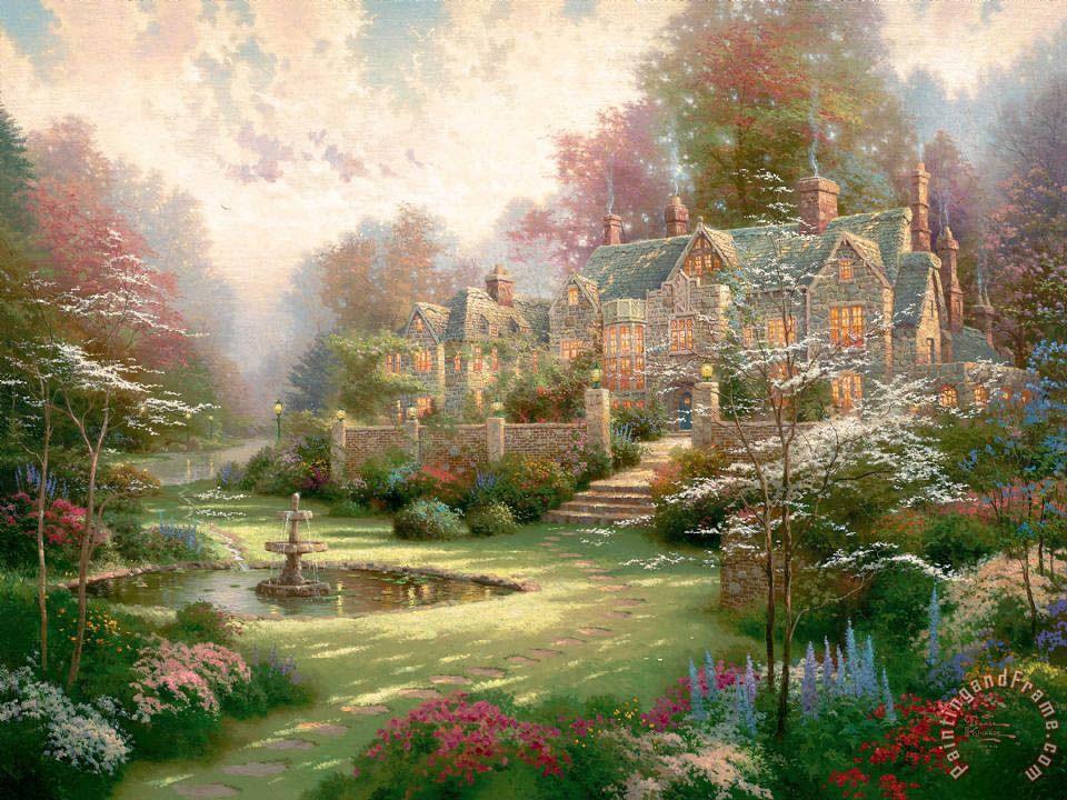 Gardens Beyond Spring Gate Painting by Thomas Kinkade