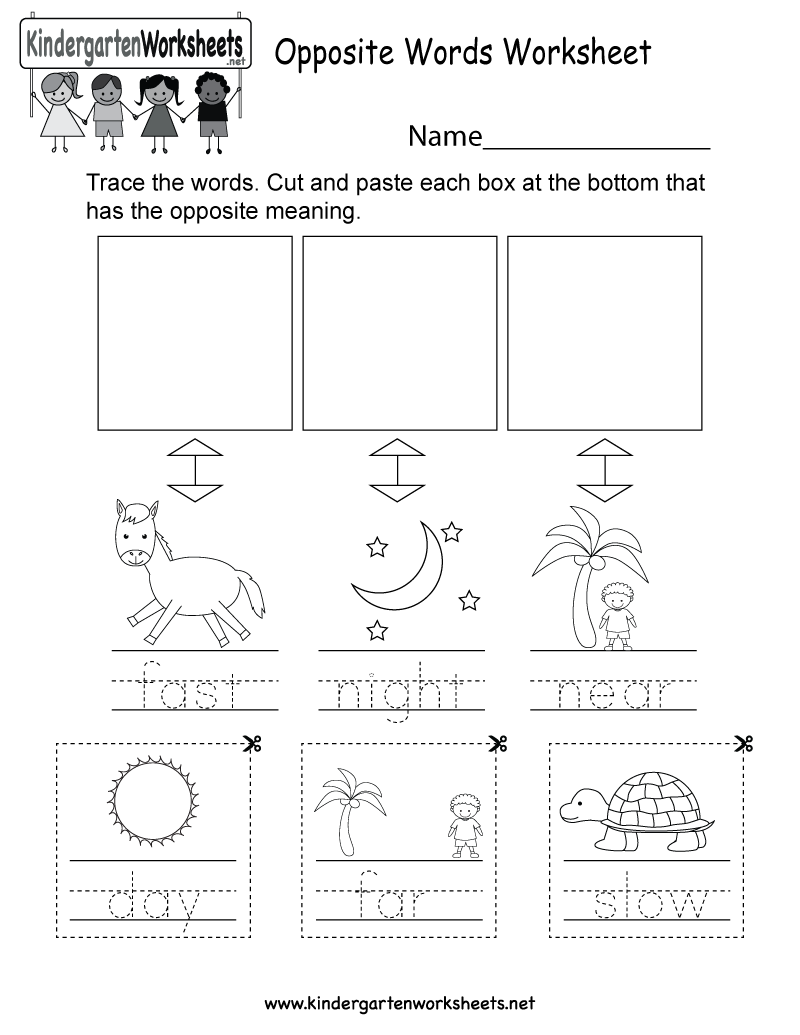This is an opposite words worksheet for kindergarteners. This would ...