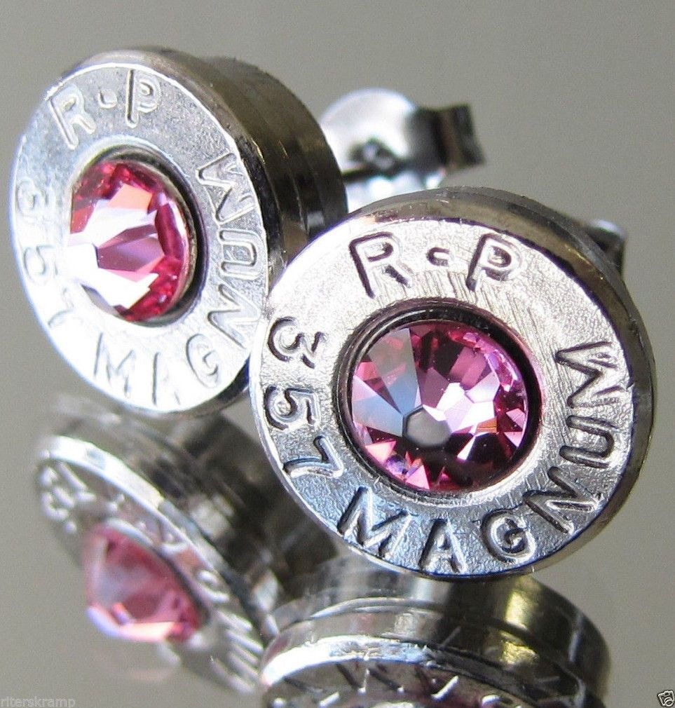 Purple camo wedding dresses   Magnum Remington Bullet Earrings Choice Crystal Silver Nickel