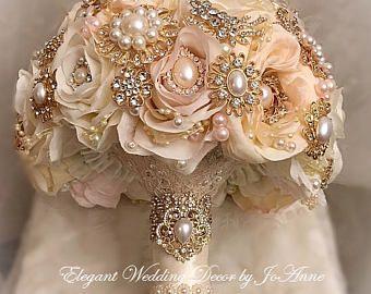 Bouquet Sposa Nozze Doro.Rose Oro Brodal Brooch Bouquet Avorio Rosa E Oro Brodal Brooch