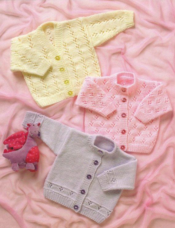 Instant Download - PDF- Pretty Baby Cardigan Knitting Pattern (16 ...