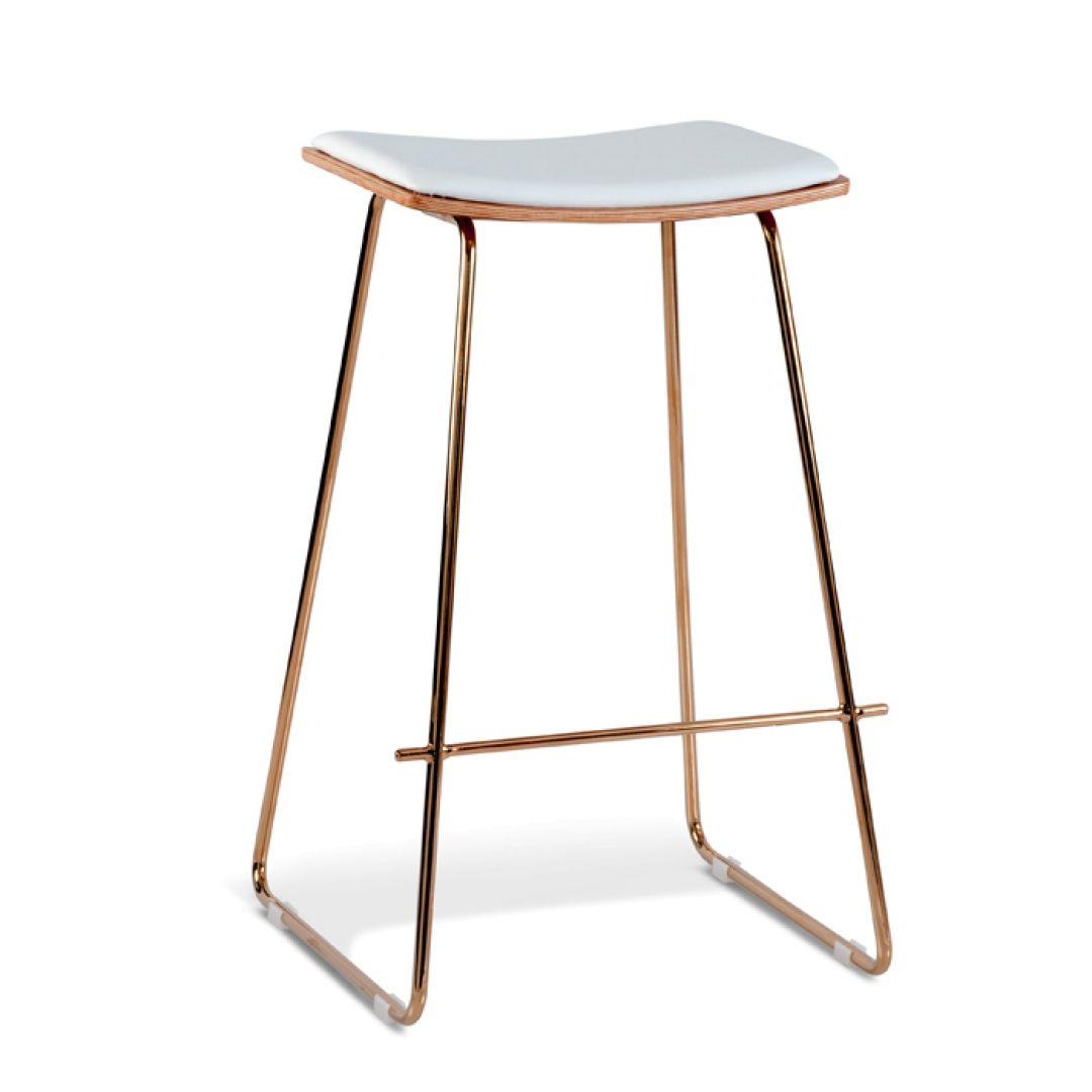 Kass modern bar stool rose gold frame white pu cushion