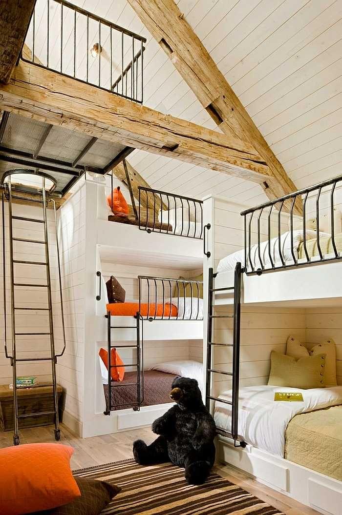 Etagen Bett Originell Design Kinderzimmer Dachboden Teppich Streifen