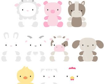 Oh So Cute Farm Digital Clipart Clip Art Illustrations - instant download - limited commercial use ok