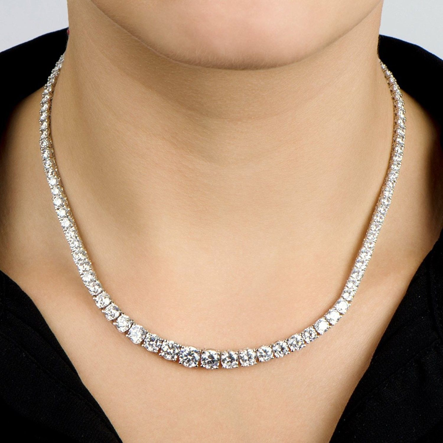 Zircon Solitaire Set Tennis Chain Necklace Earrings White Gold Plated For Women C612bt1xg1p Diamond Bar Necklace Diamond Necklace Simple Silver Jewelry