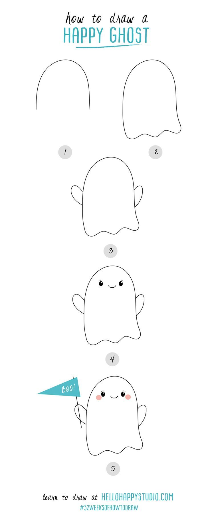 How To Draw A Happy Ghost 52weeksofhowtodraw Hellohappystudio Com With Images Easy Halloween Drawings Halloween Drawings Halloween Pictures To Draw