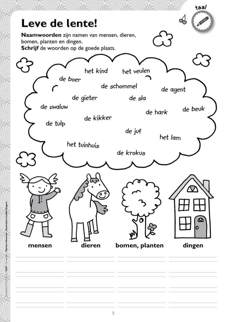 Verwonderlijk Werkblad naamwoorden - thema lente @keireeen | Taal, Spellingsregels VD-21