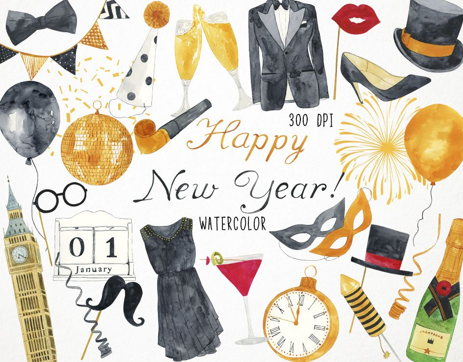 New Years Clipart New Years Eve Clipart Happy New Year Etsy In 2020 New Year Clipart Clip Art Christmas Clipart