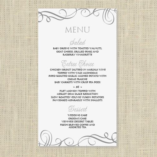 Wedding Menu Card Template - DOWNLOAD INSTANTLY - Edit Yourself - menu template word free