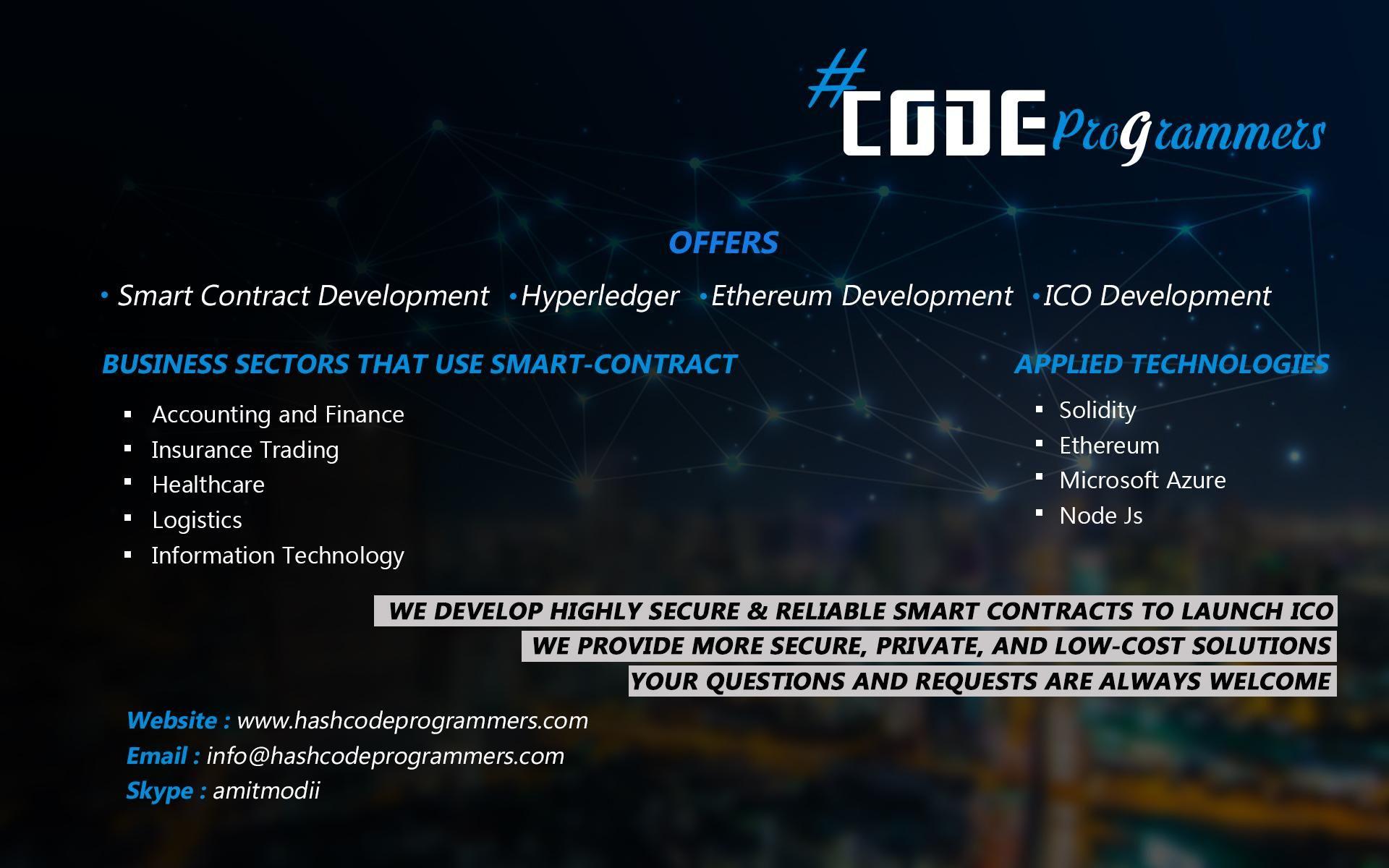 Hash code programmers offers smart_contract_development