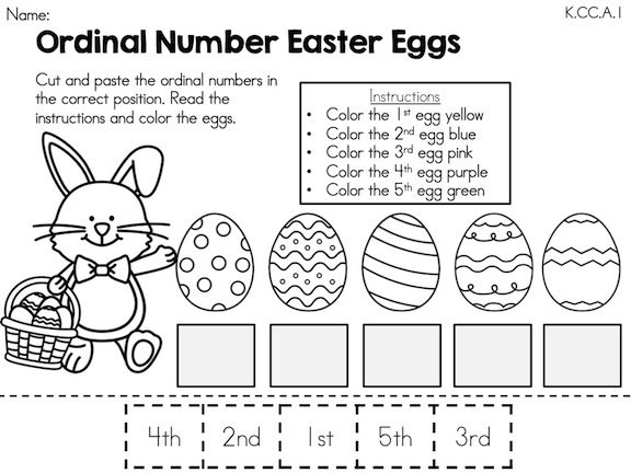 Easter Kindergarten Math Worksheets Common Core Aligned – Cut and Paste Worksheets for First Grade