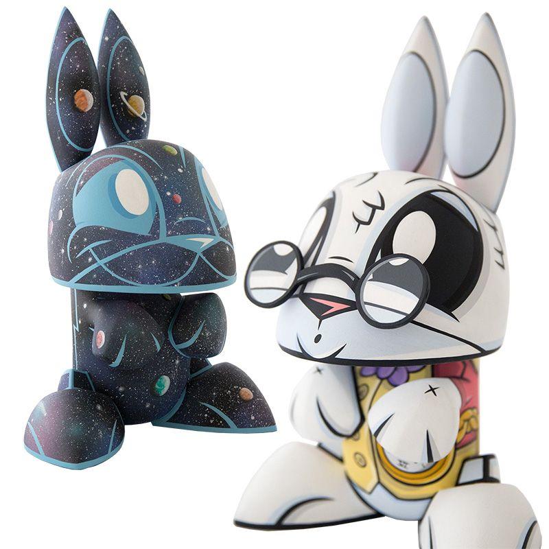 Galaxy Bunny And White Rabbit Bunny Vinyl Art Toys Art Toy Vinyl Toys