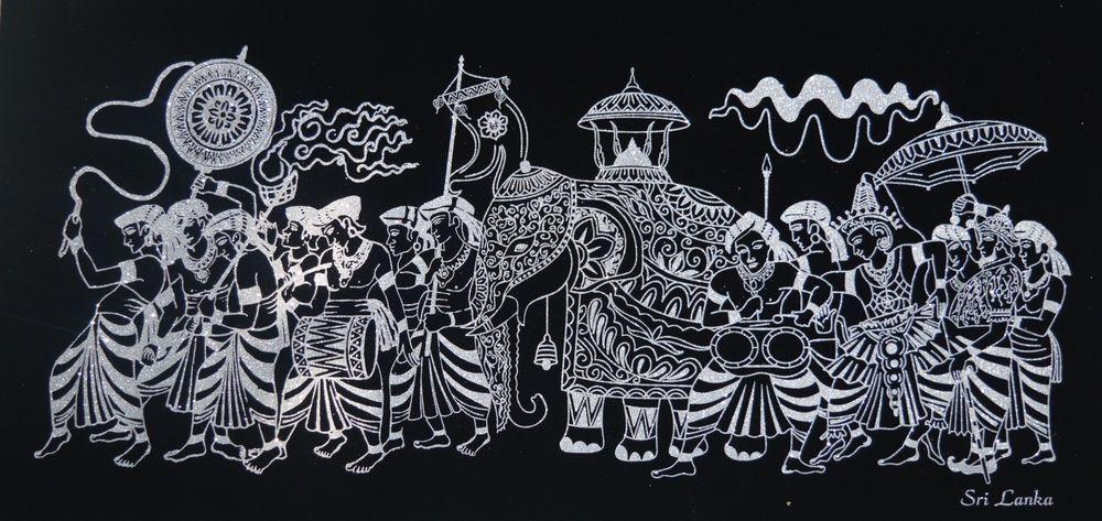 Ancient Kandy Perahara Black Velvet Fabric Textile Silver Shining Art 3ft X 1ft Black Velvet Fabric Textile Art Art