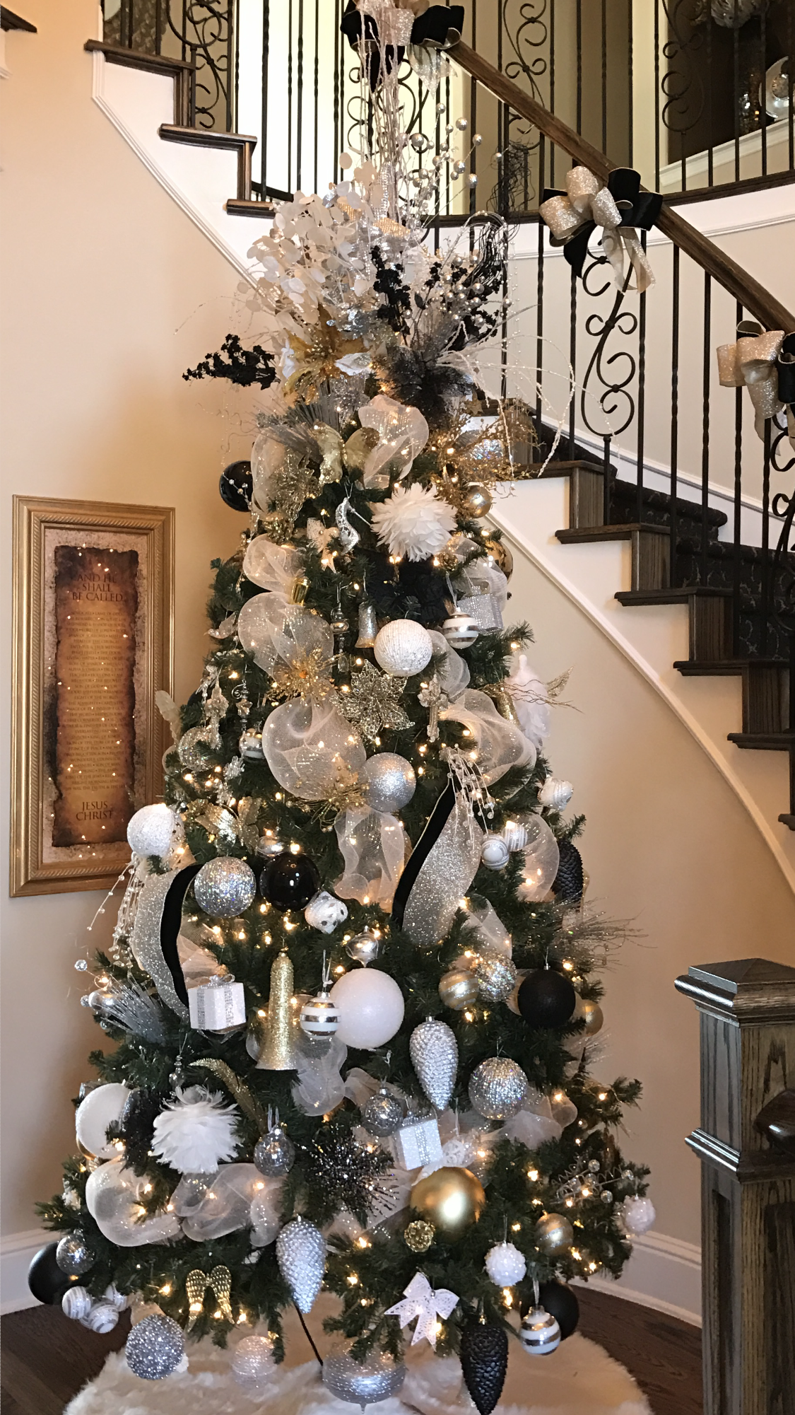 Christmas Tree 2016 Silver Gold Black And White Tree White