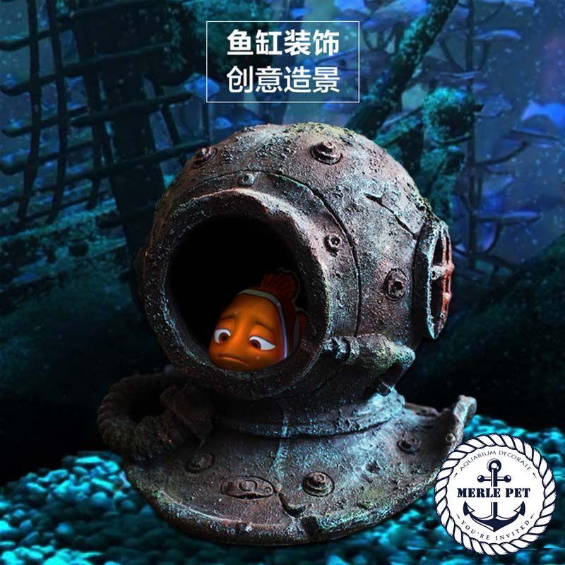 Merle Pet Resin Diving Helmet From Finding Nemo Cartoon Aquarium