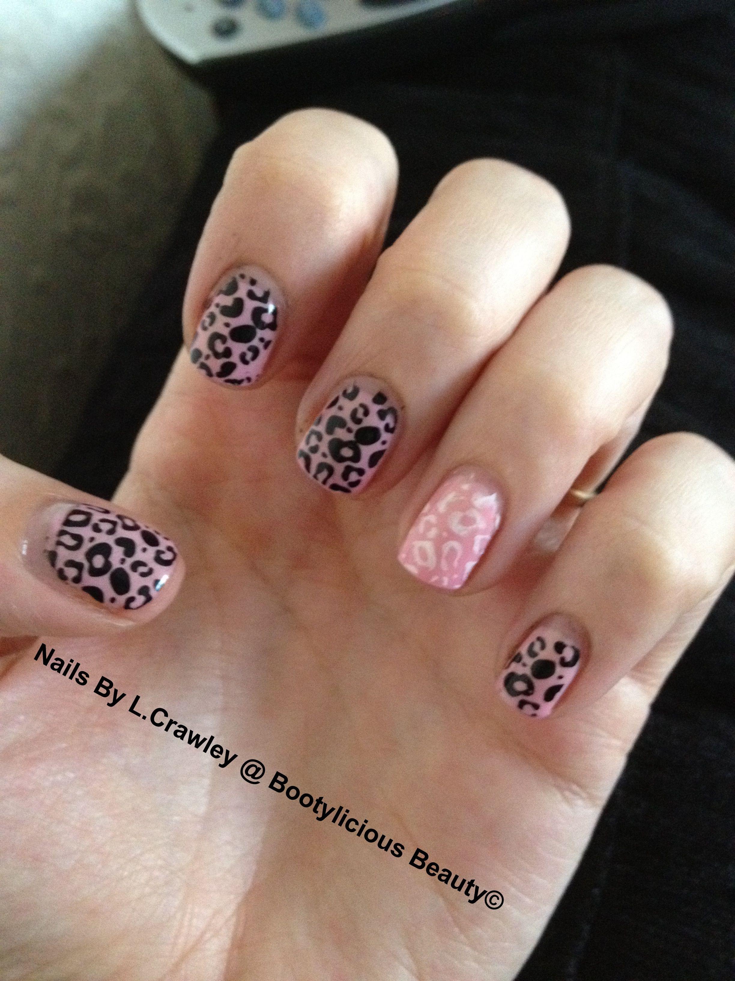 Pink gelish with konad nail art konad nails pinterest