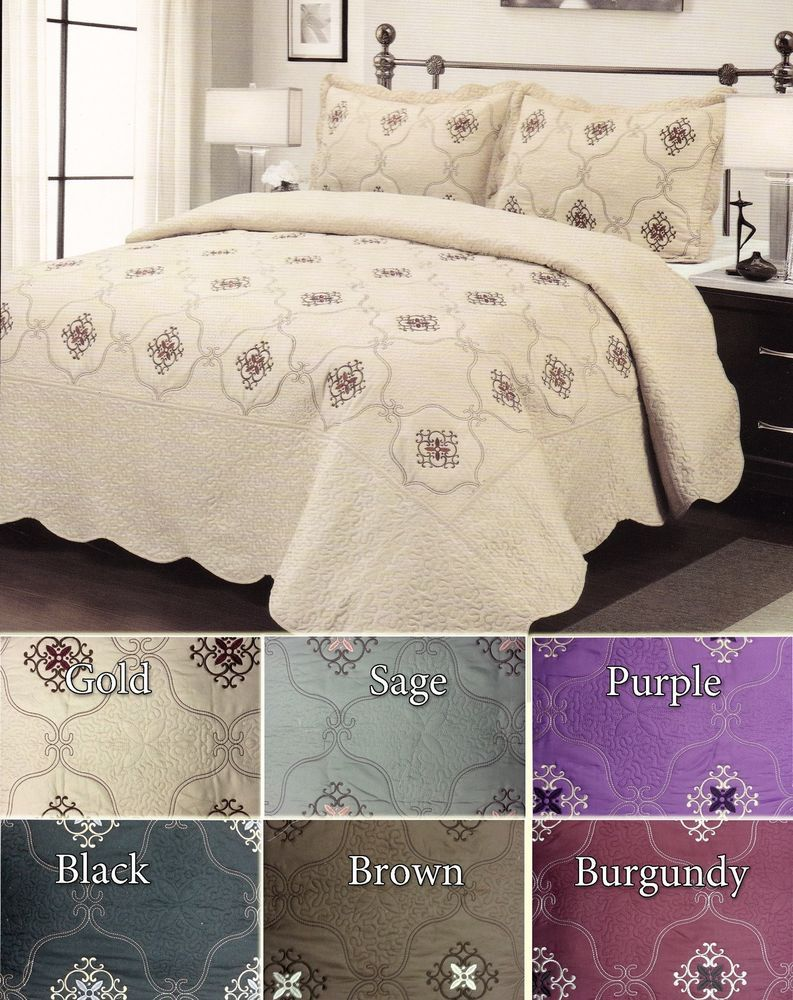 Details About 3Pc Embroidery Bed Quilt / Bed Spread Queen   King Size New