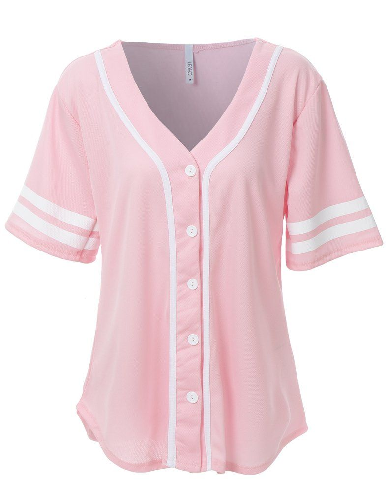 3d93d996da LE3NO Womens Oversized Short Sleeve Baseball Jersey Shirt