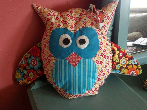 Retro Funky Owl pillow by Corrinabella on Etsy, $20.00