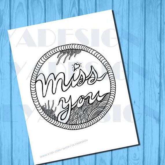 Adult coloring pages Miss you coloring page instant by olyadesign