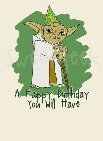 Star Wars Yoda Birthday Card by sweetgeek on Etsy – Star Wars Birthday Card
