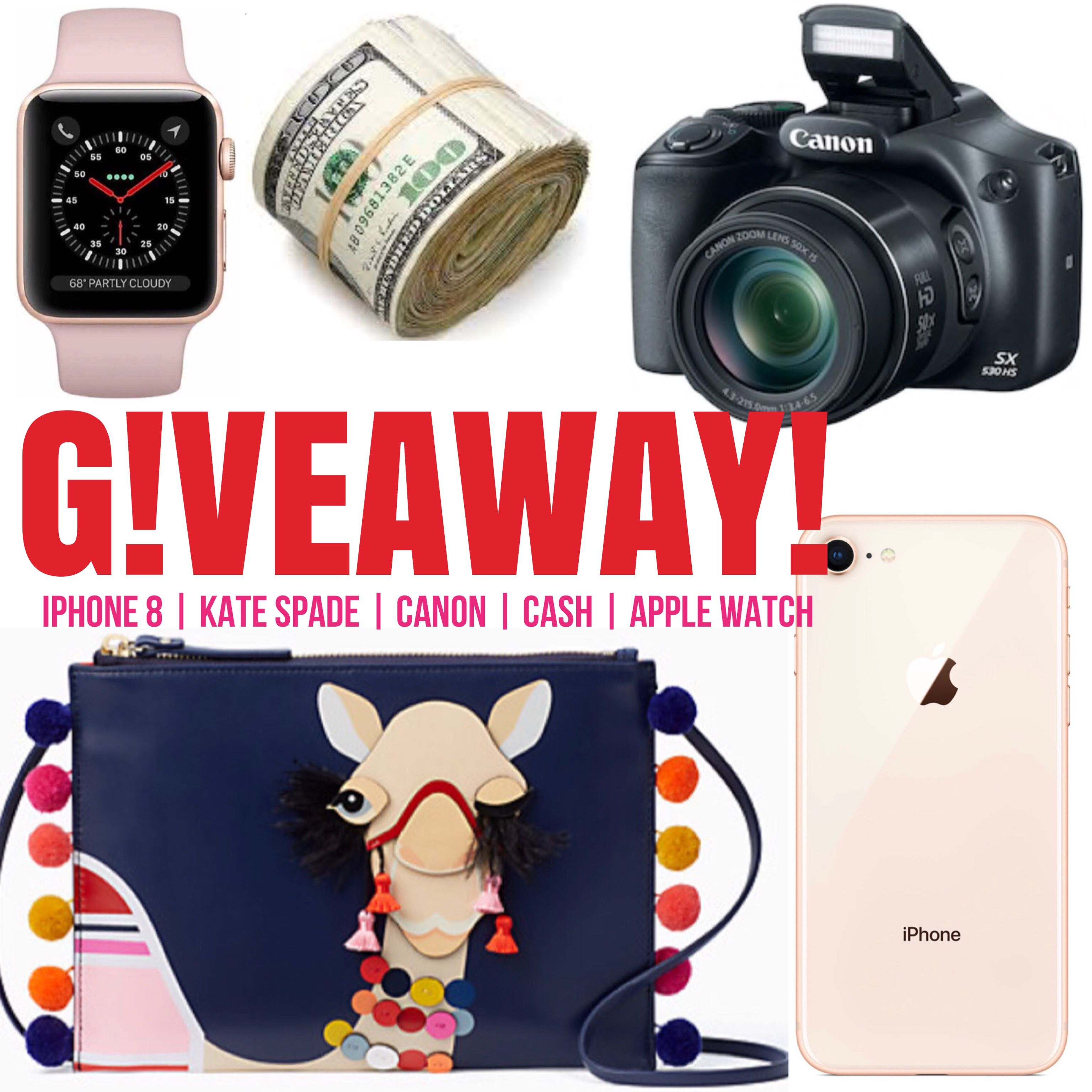WINNER'S CHOICE GIVEAWAY!! Kate bags, Apple watch, Iphone 8