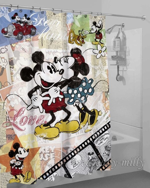 Mickey And Minnie Mouse Limited Edition High Quality Shower Curtain 60 X 72 Inch Unbranded Modern New Hot Best Custom Disney Kitchen Decor Mickey Minnie
