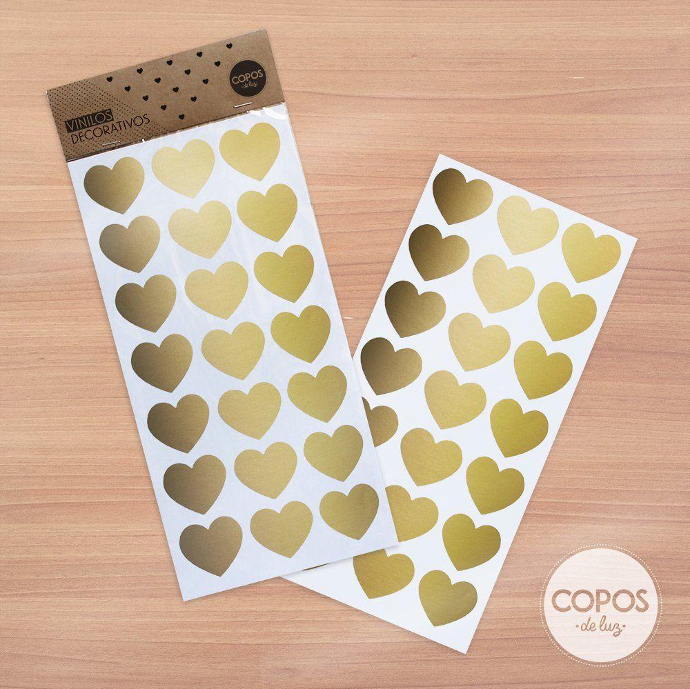 Vinilos decorativos con forma de corazones dorado for Objetos decoracion habitacion bebe