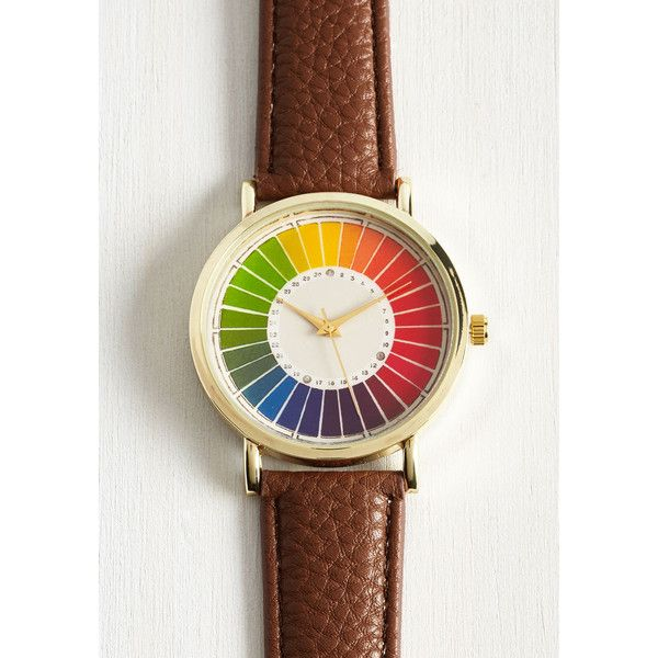 Reinventing the Color Wheel Watch ($75) ❤ liked on Polyvore featuring jewelry, watches, gold jewellery, gold watches, colorful jewelry, multi color jewelry and colorful watches