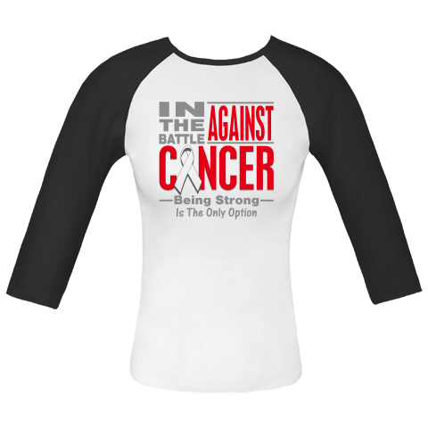 In The Battle Against Lung Cancer Fitted Raglan T-Shirts  #LungCancerShirts #BattleAgainstCancer #LungCancerAwareness