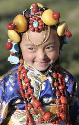 Tibetan child in traditional costume