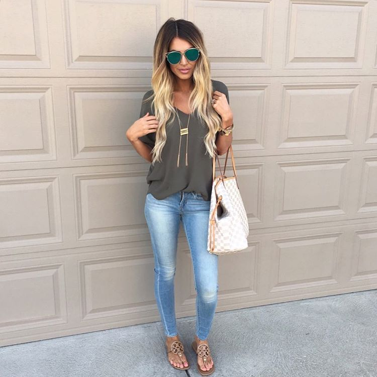 cute outfit light jeans my dream closet fashion