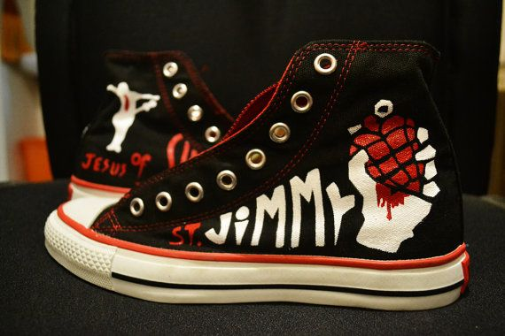 Hand Painted American Idiot Green Day Converse by