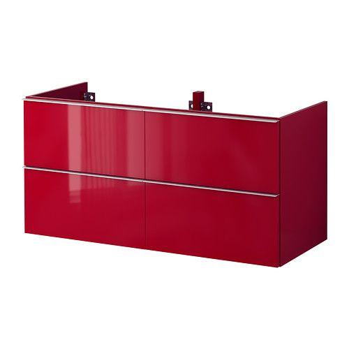 meuble salle de bain rouge 120 cm