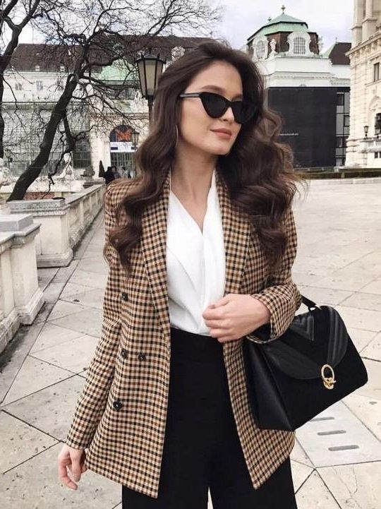 New brown beige plaid double breasted women check blazer checked suit autumn